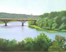View of bridge over Schuylkill River from Laural Hill Cemetery