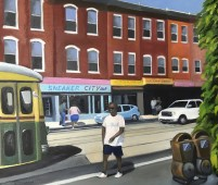 Trolley and people on Girard Ave