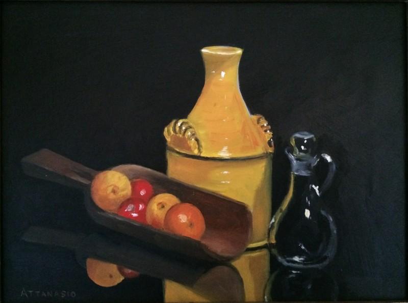 Still life with yellow jug, wooden scoop, glass cruet