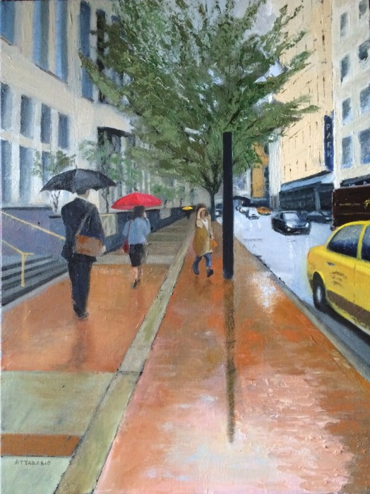 Rainy day on city street with umbrellas and woman running for yellow taxi