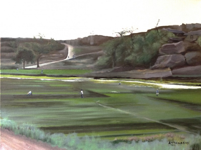 Mali landscape with people tending fields