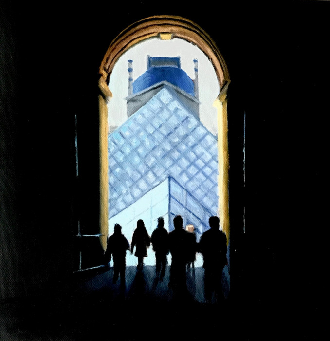 View into Louvre courtyard and through archway